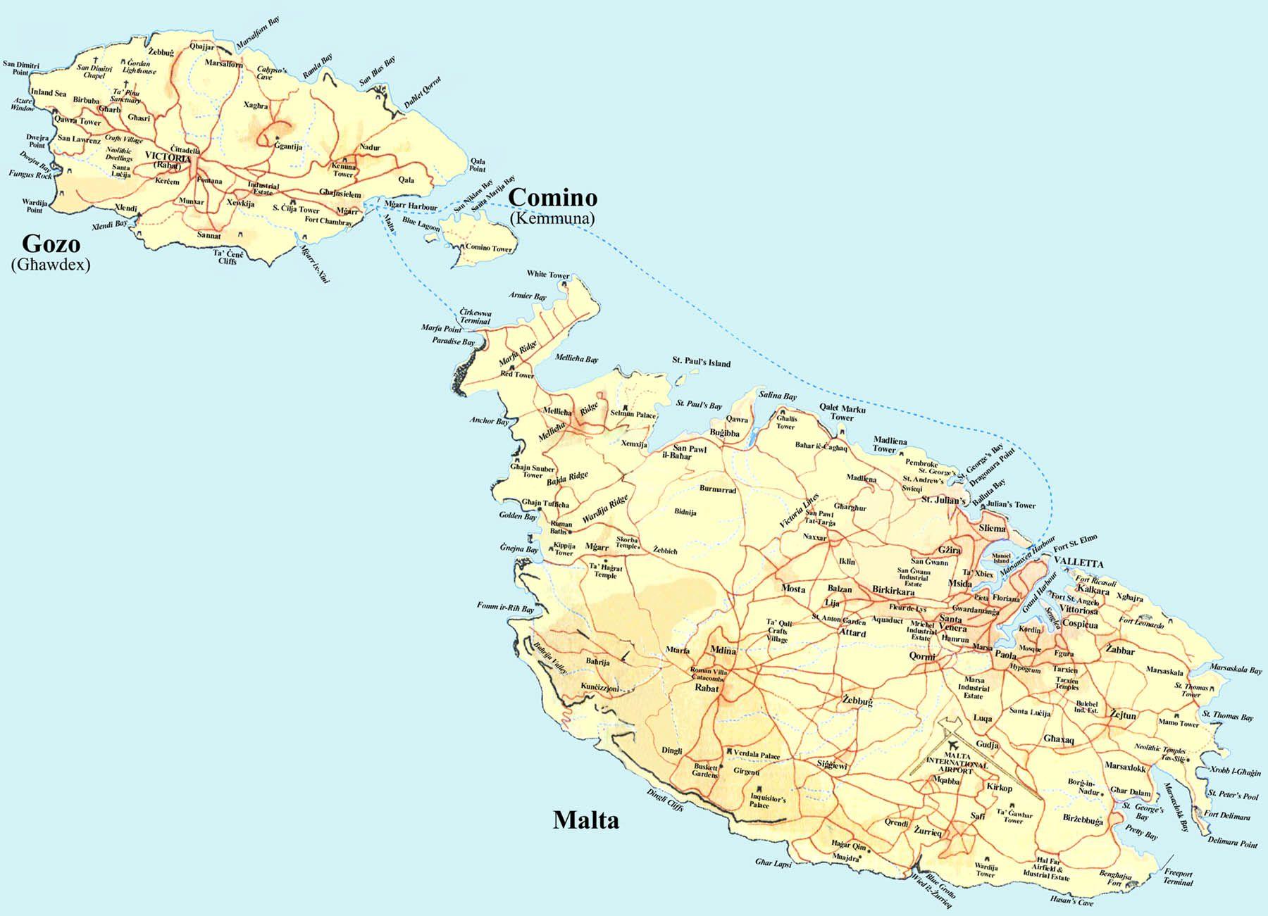 Cartina Isola Di Malta.Malta Hotel Hotel Alberghi Corsi Di Studio Lingua Inglese